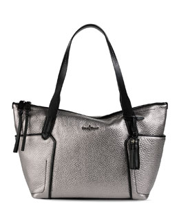 Cole Haan Parker Small Zip-Top Shopper Bag, Armor/Black