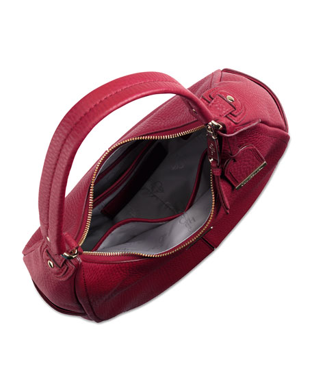Village Small Rounded Hobo Bag, Red