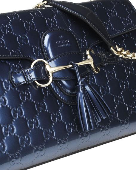 Emily Guccissima Leather Shoulder Bag, Blue
