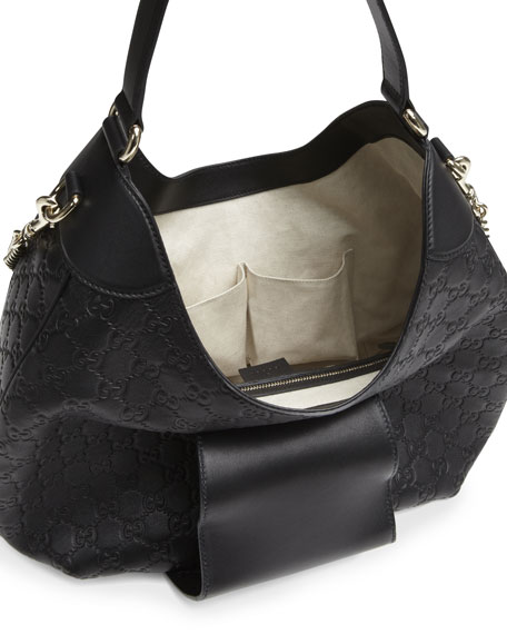 Emily Guccissima Leather Hobo Bag, Black