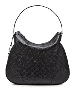 Gucci Bree Guccissima Leather Hobo Bag, Black