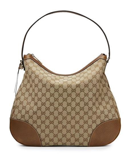Gucci Bree Original GG Canvas Hobo Bag, Tan/Brown