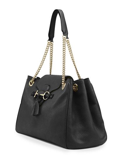 Emily Leather Shoulder Bag, Black