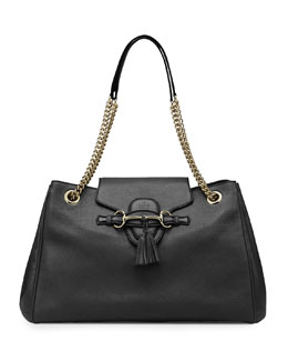 Gucci Emily Leather Shoulder Bag, Black