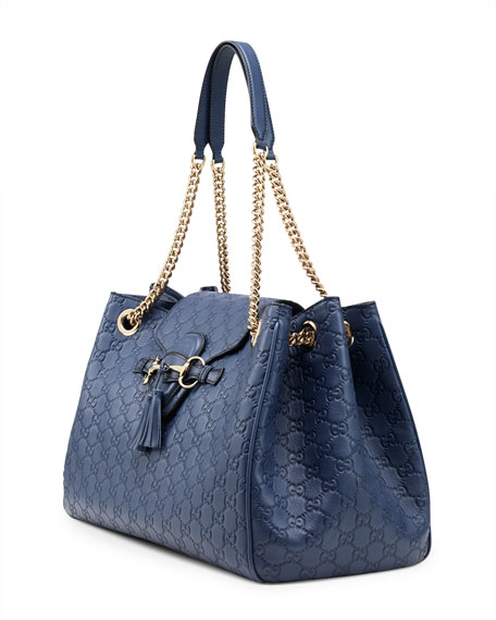 Emily Guccissima Leather Shoulder Bag, Blue