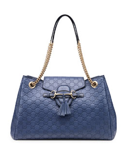 Gucci Emily Guccissima Leather Shoulder Bag, Blue
