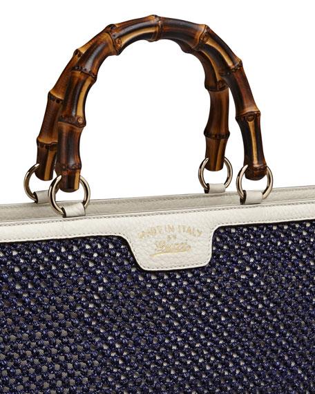 Bamboo Shopper Straw Tote Bag, Blue/White