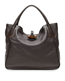 Gucci Hip Bamboo Leather Tote Bag, Dark Brown