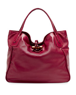 Gucci Hip Bamboo Leather Tote Bag, Dark Red