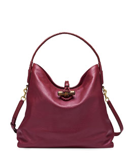 Gucci Hip Bamboo Leather Shoulder Bag, Dark Red
