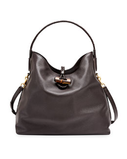 Gucci Hip Bamboo Leather Shoulder Bag, Dark Brown