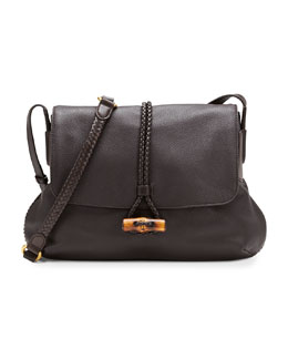 Gucci Hip Bamboo Leather Flap Shoulder Bag, Dark Brown
