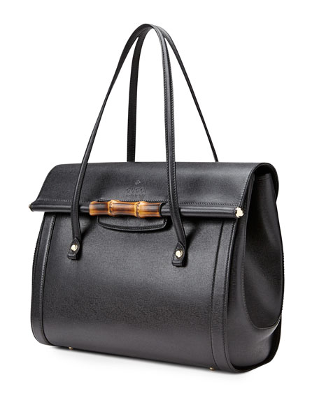 New Bullet Large Leather Top Handle Bag, Black