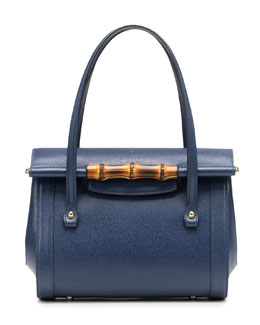 Gucci New Bullet Small Leather Top Handle Bag, Navy