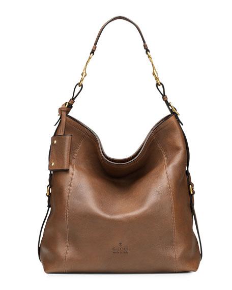 Gucci Harness Leather Hobo Bag, Tan
