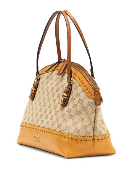 Laidback Crafty GG Canvas Top-Handle Bag, Yellow