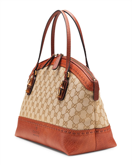 Laidback Crafty GG Canvas Top-Handle Bag, Burnt Orange