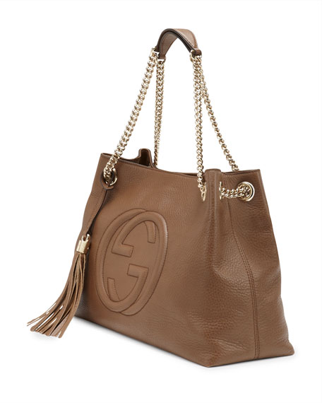Soho Leather Chain-Strap Tote, Brown