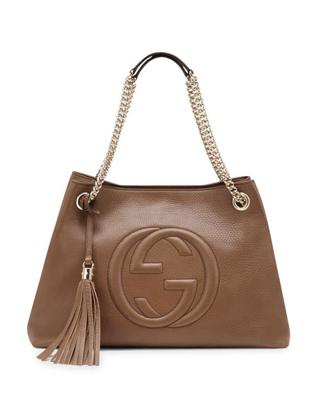 Gucci Soho Leather Chain-Strap Tote, Brown
