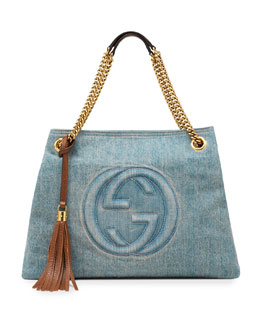Gucci Soho Medium Blue Denim Tote