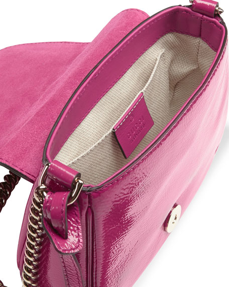 Soho Small Patent Leather Chain Shoulder Bag, Fuchsia