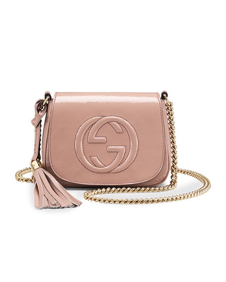 Gucci Soho Small Patent Leather Chain Shoulder Bag Nude