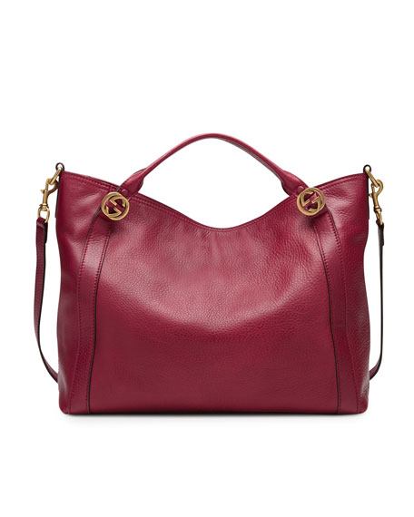 Miss GG Leather Top Handle Bag, Dark Red