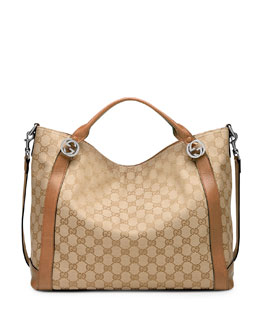 Gucci Miss GG Original Canvas Top Handle Bag, Tan/Camel
