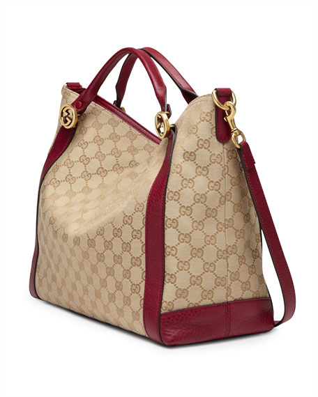 Miss GG Original GG Canvas Top Handle Bag, Tan/Dark Red