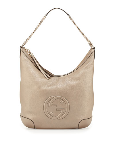Gucci Soho Metallic Hobo Bag, Gold