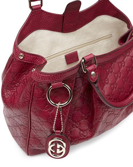 Gucci Sukey Medium Guccissima Leather Tote, Dark Red
