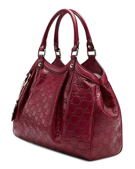 Sukey Medium Guccissima Leather Tote, Dark Red