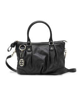 Gucci Sukey Guccissima Leather Top Handle Bag, Black
