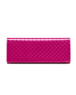 Gucci Broadway Microguccissima Patent Leather Evening Clutch, Fuchsia
