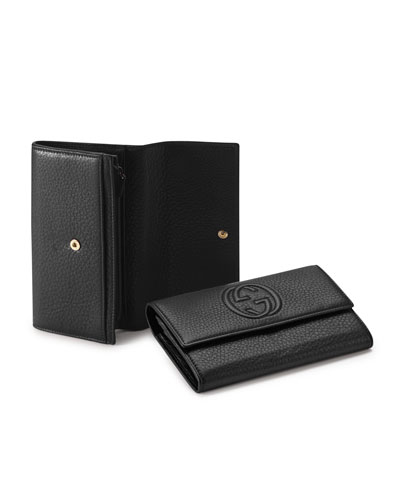 Soho Leather Continental Wallet, Black