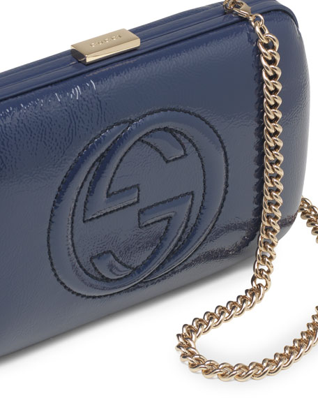 Broadway Patent Leather Minaudiere Clutch, Blue