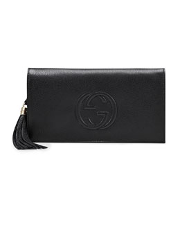 Gucci Soho Leather Clutch Bag, Black