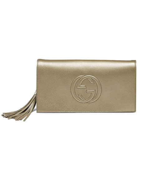 Soho Metallic Leather Clutch, Golden