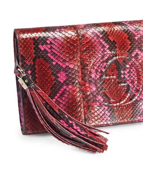 Soho Python Clutch, Red Multi