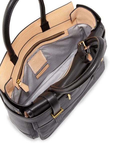 Boxer Pebbled Leather Tote Bag, Black