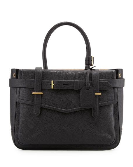 Boxer Pebbled Leather Tote Bag, Black