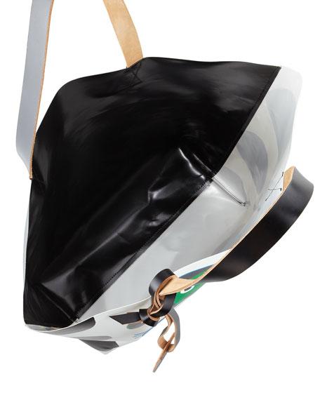 Girl-Print PVC Shopping Bag, Green/Blue