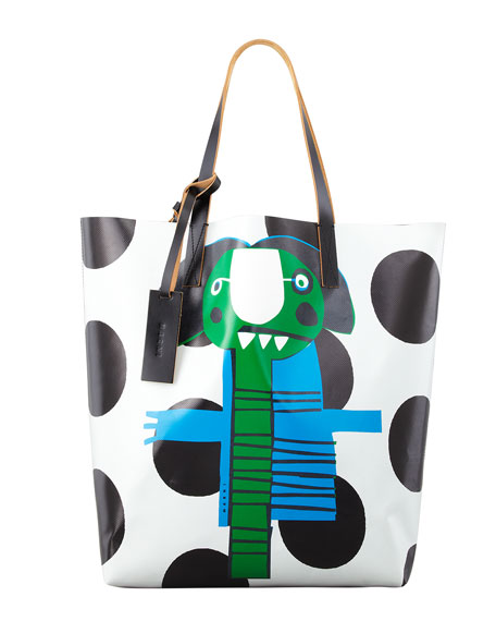 Girl-Print PVC Shopping Bag, Green/Blue