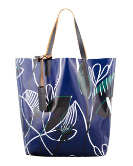Marni Floral-Print PVC Shopping Bag, Blue