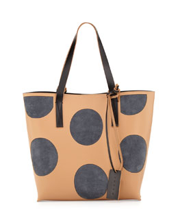 Marni Polka-Dot Small Shopper Tote Bag, Nude/Gray