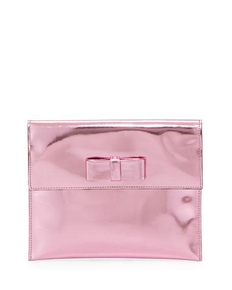 Metallic Bow Flap Clutch Bag, Pink