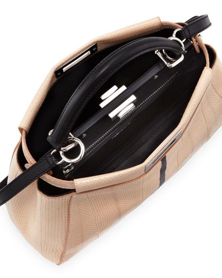Peekaboo Snakeskin Medium Tote Bag, Nude/Black