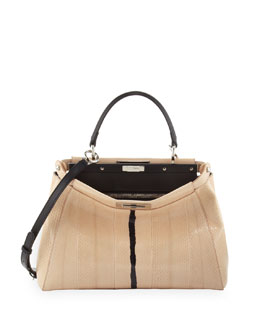 Fendi Peekaboo Snakeskin Medium Tote Bag, Nude/Black