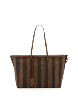 Fendi Medium Pequin-Stripe Tote Bag, Brown/Forest Green