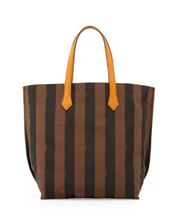 Fendi Pequin Striped Shopping Tote Bag, Brown/Yellow